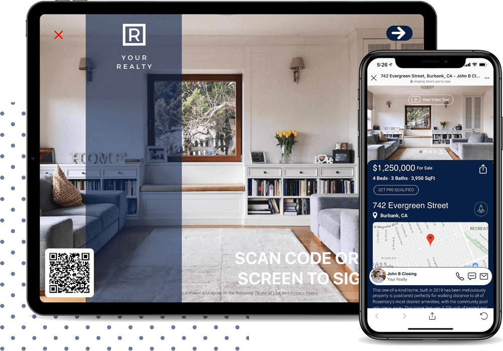 Block Party Listing Open House App Cross-Device For Real Estate